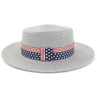 straw flags 2021 - Summer Unisex Sun Straw Hats with US Flag Ribbon Band Decor Flat Top Hat Men Women Wide Brim Outdoor Sunhat Shade Hats