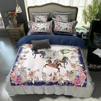Wholesale purple egyptian cotton bedding for sale - Group buy Vintage Flowers Horse printed Bright Color Bedding Set Egyptian Cotton Soft Duvet Cover Bed Sheet Set King Queen Size