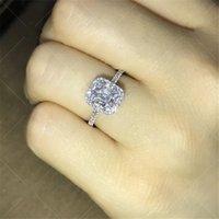 anéis de casamento de prata e prata puro venda por atacado-Uphot Chegada impressionante Luxury Jewelry 100% Pure 925 Sterling Silver T Forma Branco Topaz CZ diamante Gemas casamento Mulheres Banda presente Ring