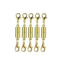 altın kaplama konektör bilezik toptan satış-DHL GEMI Neclace Zincir Bilezik Altın kaplama Mıknatıs toka silindirik konnektör Klipsler Takı Aksesuar Bileşenleri