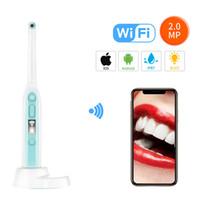 iphone remote kamera app großhandel-WiFi Wireless Dental Camera HD intraorale Endoskop mit 8 LED-Leuchten Inspektion für Zahnarzt Oral Echtzeit-Video Dental Tools