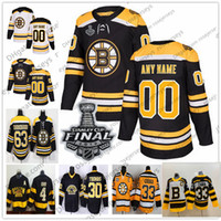 ingrosso pullover boston bruins-Personalizzato Boston Bruins 2019 Stanley Cup Jersey Qualsiasi numero Nome uomo donna gioventù bambino Nero Bianco Giallo Pastrnak Coyle Krug McAvoy Rask Chara