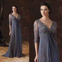 Wholesale half sleeves floor length mother bride for sale - Group buy Chic Plus Size Mother Of The Bride Dresses Half Sleeves A Line V Neck Empire Waist Mother Of Groom Dress Floor Length Chiffon Evening Gowns