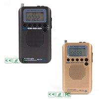radyo havası toptan satış-1 Set HRD-737 Dijital LCD Ekran Tam Bant Telsiz Taşınabilir FM / AM / GB / CB / Hava / VHF Dünya Bandı Stereo Alıcısı Radyo ile Çalar Saat