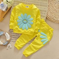 Wholesale kids clothing pants jumpers resale online - Kids Infant Baby Girls Clothes Sets Jumper Tops Pants Outfit Clothing Set Spring Fall Long Sleeve Sun Flower Cute Clothes