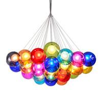 balon ampulleri toptan satış-LED ampuller Nordic yaratıcı renkli çocuk odası kabarcık topu avize modern kişilik oturma odası asılı balon