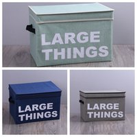 Wholesale toy storage bag portable resale online - Portable Foldable Storage Bag Letter Print Cotton Linen Folding Clothes Storage Box Baskets Toy Snack Storage Basket Large BC BH0801