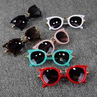 брендовые солнцезащитные очки для детей оптовых-2019 Cat Eye Brand Дизайнерские солнцезащитные очки для детей Fashion Girl Boy Cute Sun стекла Дети Gradient UV400 Kawaii Прекрасные очки