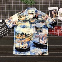 Wholesale super oil paintings for sale - 19SS Luxurious tide brand off whitee Monet Oil Painting Hawaiian Holiday Short Sleeved Shirts fashion Spring Summer Sleeves Outdoor Street