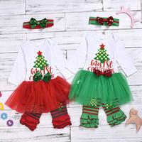 Wholesale girls mesh leggings for sale - Group buy Christmas Girls Letter Xmas tree Print Long Sleeved Mesh Tutu Dress Sequins Bow Headband Striped Lace Leggings Clothing Sets M428