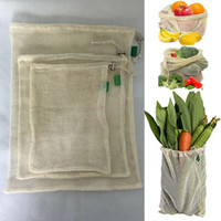 Wholesale eco friendly tote bags resale online - 3pcs Set Reusable Cotton Mesh Grocery Shopping Produce Bags Vegetable Fruit Fresh Bags Hand Totes Home Storage Pouch Drawstring Bag WX9