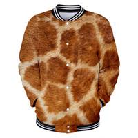 kaplan üniforma toptan satış-Erkek / Bayan Beyzbol Üniforma Hayvan Kürk Emülasyon 3D Zürafa Kaplan Cilt Komik Giyim Meslektaş Tişörtü Bombacı Ceket Üst Baskı