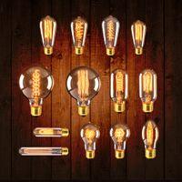 filament ampuller toptan satış-Retro Edison Ampul E27 220 V 40 W ST64 T10 T45 G80 G95 G125 Ampul Bağbozumu Ampul edison Lamba Akkor Filament Ampul Dekor