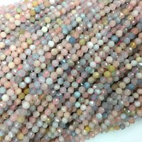 rosas rosas pequenas venda por atacado-Genuine Natural Blue Morganite Pink Star facetada Rose corte redondo Pequenas Colares Beads 4mm 06191