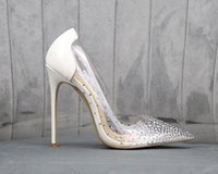 Wholesale nude wedding shoes rhinestone for sale - Group buy Come with Logo Red Bottom High Heels Gold Silver Transparent Clear Crystal Shoes Bridal Wedding Shoes Designer Pumps Size To