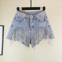 ingrosso pesanti jeans-Nail diamante nappa bicchierini del denim Donne Wid Leg estate nappe pesanti vita sottile Jean Shorts OOA7013