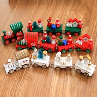 Wholesale santa paintings resale online - Christmas Train Toys Painted Wood Decoration for Home with Santa bear Xmas Kid Toys Ornament New Year Gift favor LJJA3395