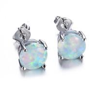 sevimli kız opal toptan satış-Trendy Küçük Yuvarlak Beyaz / Mavi Yangın Opal Saplama Küpe Kadınlar Düğün Parti Charms Takı 1 Çift Kızlar Için Sevimli Küpe L3N600