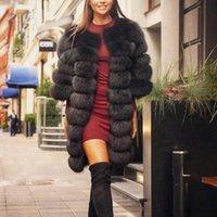 Echt Faux Fuchspelz Weste Damenmode Gilet Damen lange Jacke Mantel warm 2019 neu