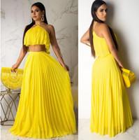 iki renk kadın elbise toptan satış-Moda kadın set yüksek kalite halter iki parçalı setleri yaz rahat şifon iki parçalı elbise 2 renk fabrika toptan