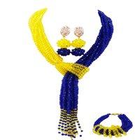 ingrosso orecchini di cristallo giallo del branello-Royal Blue e Yellow African Beads Jewelry Set collana di perline in cristallo orecchini orecchini set di gioielli per feste 10WJK05