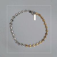 corea llena de oro al por mayor-Collar de cadena de moda corta de oro y plata con doble color Justine cadena de clavícula de la nariz de cerdo joyería en capas Corea collar C18122801