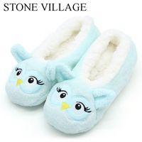 голубые тапочки оптовых-New Style Cartoon Animal Plush Warm Winter Women Slippers Soft Bottom Floor Indoor Shoes Ladies Home Slippers Sky Blue