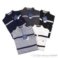 männer polo trägt großhandel-2018 Herbst tragen neue Männer gestreiften Poloshirts Männer Leggings Herbst Baumwolle Langarm T-Shirt Männer