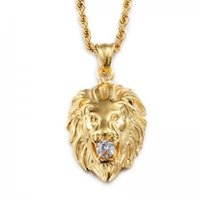 silberner löwenschmuck großhandel-Männer Löwenkopf Anhänger Halskette Gold Silber Edelstahl Halsketten Strass Eingelegt mit Gliederkette Herren Männlichen Schmuck LJJW111