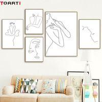 quarto de banho sexy venda por atacado-Mulheres Sexy Corpo Nórdico PosterPrint Desenho A Lona Moderna Pintura Da Lona Arte Da Parede Mural Imagem Modular Meninas Quarto Home Decor