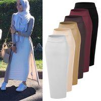 ropa de mujer musulmana al por mayor-Falda de mujer elegante elegante modesto Bottoms musulmanes Falda lápiz largo hasta el tobillo Espesar de punto de algodón partido islámico ropa Y190428