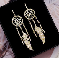 Wholesale copper pin earrings for sale - Luxury earrings for women Fashionable hipster individual character revives ancient ways feather ear drop exaggerated tassel ear pin