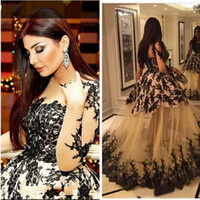haifa langes kleid großhandel-Abendkleid schiere Mieder Kim Kardashian Haifa Eman Alaj bodenlangen Yousef Aljasmi Langarm Spitze Ballkleid Zeena Zaki schwarzer Spitze