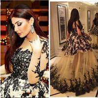 vestido negro kardashian al por mayor-Vestido de noche Sheer blusa Kim Kardashian Haifa Eman Alaj Longitud del piso Yousef Aljasmi Vestido de fiesta con encaje de manga larga Zeena Zaki Black Lace