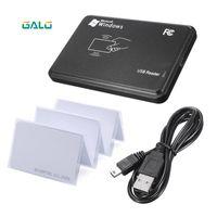 Wholesale sensor rfid resale online - RFID Reader for Access Control KHz Black USB Proximity Sensor Smart rfid id Card Reader EM4100 card Optional