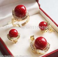 ingrosso orecchini di corallo rosso perlato-10mm 14mm corallo rosso del sud mare conchiglia orecchini di perle anello collana pendente set gemme gioielli set quarzo argento pietra di cristallo donne di cristallo