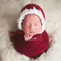bonecos de crochet vermelho recém-nascidos venda por atacado-Recém-nascidos natal prop vermelho e branco Santas elf natal chapéu Crianças Crochet Santa Hat Pai Natal Bonnet