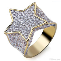 Wholesale high quality cubic zirconia stones for sale - Group buy Men s Fashion Copper Gold Color Plated Ring Exaggerate High Quality Iced Out Cz Stone Star Shape Ring Jewelry Gift