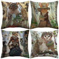 Wholesale alice case online - 5 Styles Fair Tale Alice in Wonderland Cushion Covers Bunny Cat Owl Fox Art Drawing Cushion Cover Linen Pillow Case For Kids Bedroom