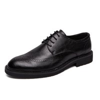 коричневая кожа повседневная обувь мужчины оптовых-Pheron2019 Spring Men Flats Genuine Leather Dress Shoes Brogue Oxford Lace Up Male Casual Shoes Black Brown Size 38-47F-258