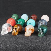 Wholesale metal chain for jewelry making for sale - Group buy Natural Stone Skull Pendant Charms Crystal Agate Jade Turquoise Gemstone Carving Skeleton Head for Metal Leather Chain Jewelry Making