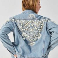 denim floral vintage al por mayor-Boho Inspired Bead Embellished Denim Jacket women 2019 winte women coat bomber jacket vintage coat pearl 2019 outwear