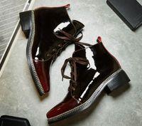 botas martin borgoña al por mayor-Venta caliente-Primavera Otoño Nueva Moda Botas cortas puntiagudas Martin Boot Englang Style Single Shoes Burgundy Casual Shoes Tide Size 34-39