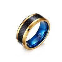 gold-kohlefaser-ring großhandel-Heißer verkauf kohlefaser ring mode 8 MM Schwarz und gold Blau Ringe für Männer schmuck Paare Zirkonia Hochzeit Ringe Bague Femme