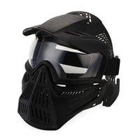 mascarillas militares al por mayor-Máscara táctica al aire libre de la lente Máscara de la cara completa Cs respirable Protección del ejército Máscaras Accesorios