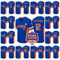 ulusal isimler toptan satış-Florida Gators 2017 Ulusal Şampiyonlar Beyzbol Forması Mens Womens Gençlik NCAA Koleji Beyzbol Forması Çift Dikişli Adı ve Numarası