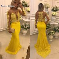 Vestidos De Noche De Encaje Completo Amarillo Apliques Sheer Jewel Mangas Largas Vestido De Fiesta Longitud Del Piso Sirena Vestidos De Fiesta