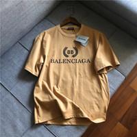 kadınlar için kahverengi yelek toptan satış-19ss Paris Kahverengi pamuk Tişörtleri Crewneck Erkek Kadın Kısa Kollu Yaz Tee Nefes Yelek Gömlek Streetwear Açık T-shirt