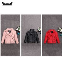Wholesale pu jackets for children for sale - Group buy 2 Y HOT selling new Pu leather jackets for baby girl and boys loose good quality children coats kids spring sutumn tops