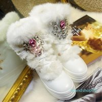 Wholesale real rabbit shoes for sale - Group buy Hot Sale Real Rabbit Fur Winter Boots Rhinestones Diamond Snow Boots Thick Warm High top Women Shoes Large Size Winter Boots
